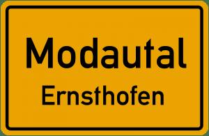 Das Ortsschild von Ernsthofen