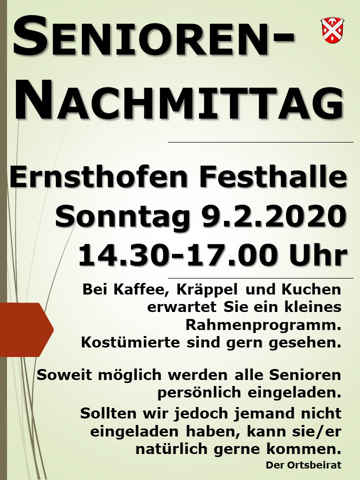 2020 SN Aushang Artikel 1 - Seniorennachmittag Ernsthofen 9.2.2020