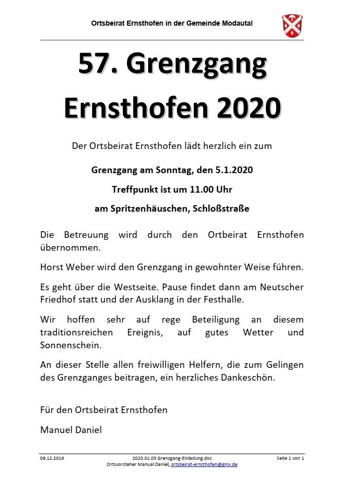2020.01.05 Grenzgang Einladung - Grenzgang Ernsthofen 2020