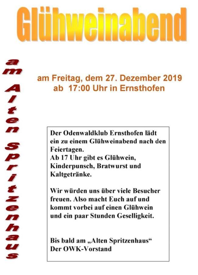 OWK Glühwein 2019 - Glühweinabend am Spritzenhäuschen