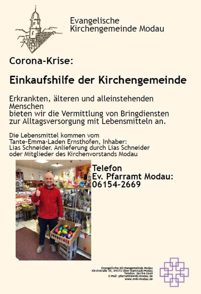 Einkaufhilfe - Corona: Einkaufshilfe der Kirchengemeinde